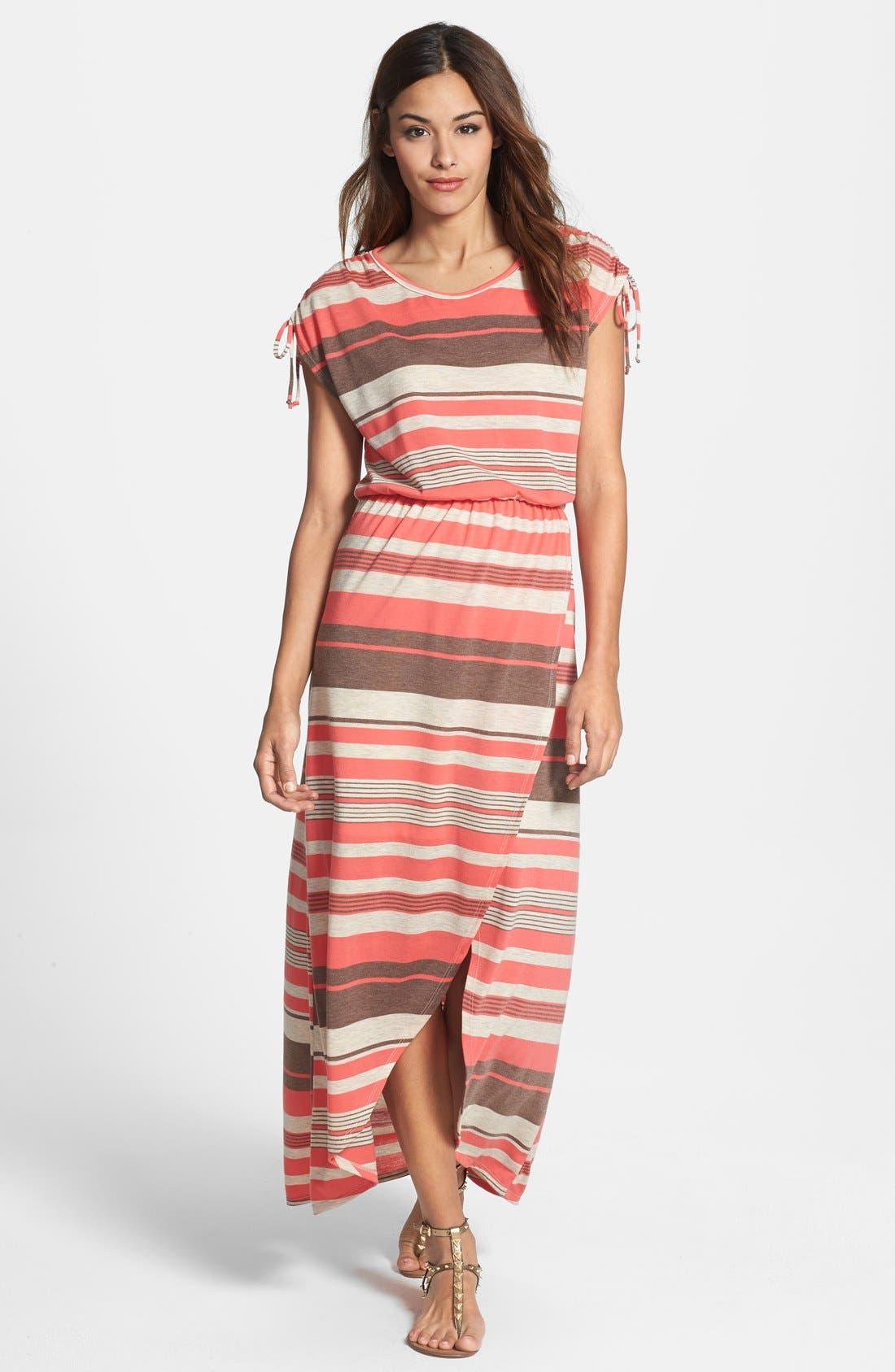 Alternate Image 1 Selected - Loveappella Faux Wrap Stripe Maxi Dress