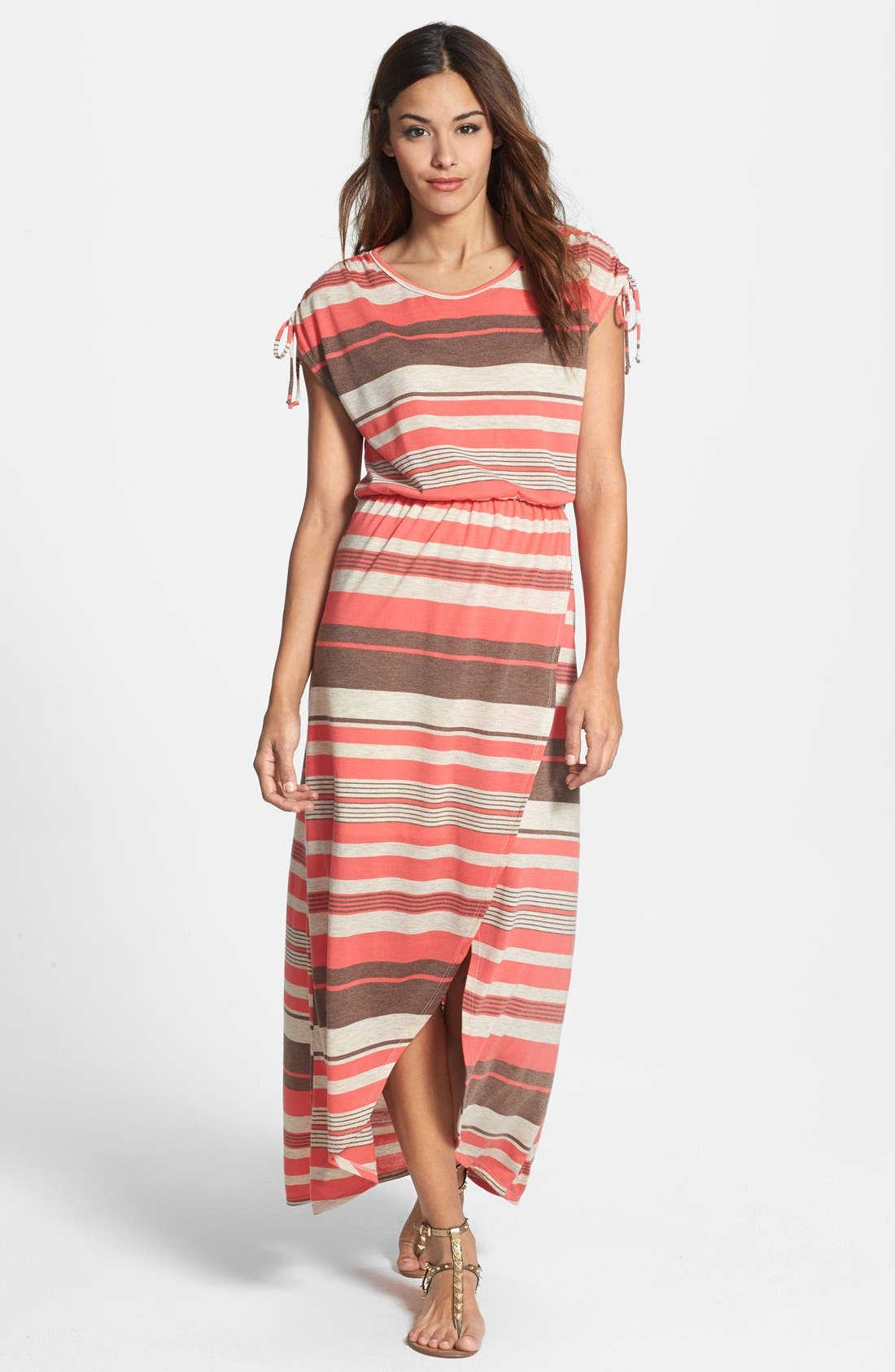 Main Image - Loveappella Faux Wrap Stripe Maxi Dress