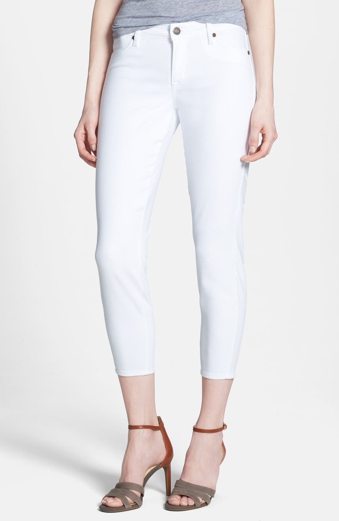 'Believe' Stretch Twill Crop Leggings,                         Main,                         color, Optic White
