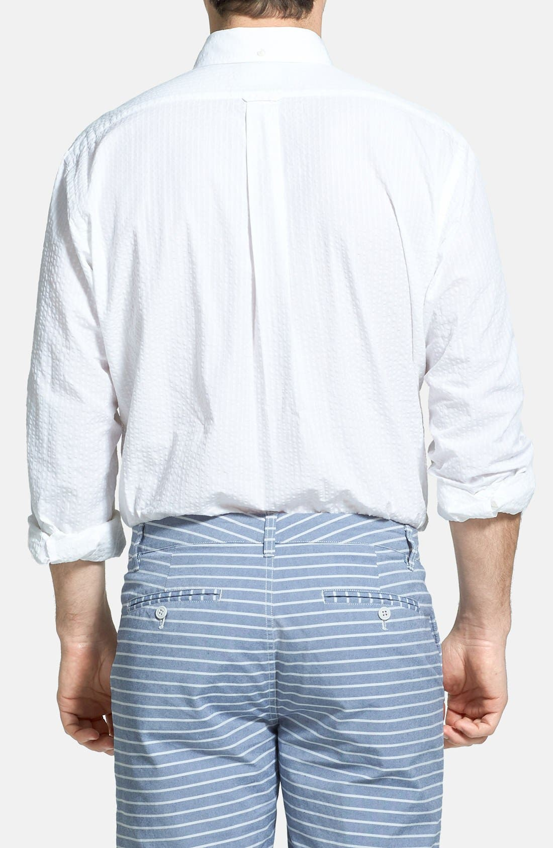 Alternate Image 2  - Façonnable Classic Fit Seersucker Sport Shirt (Tall)
