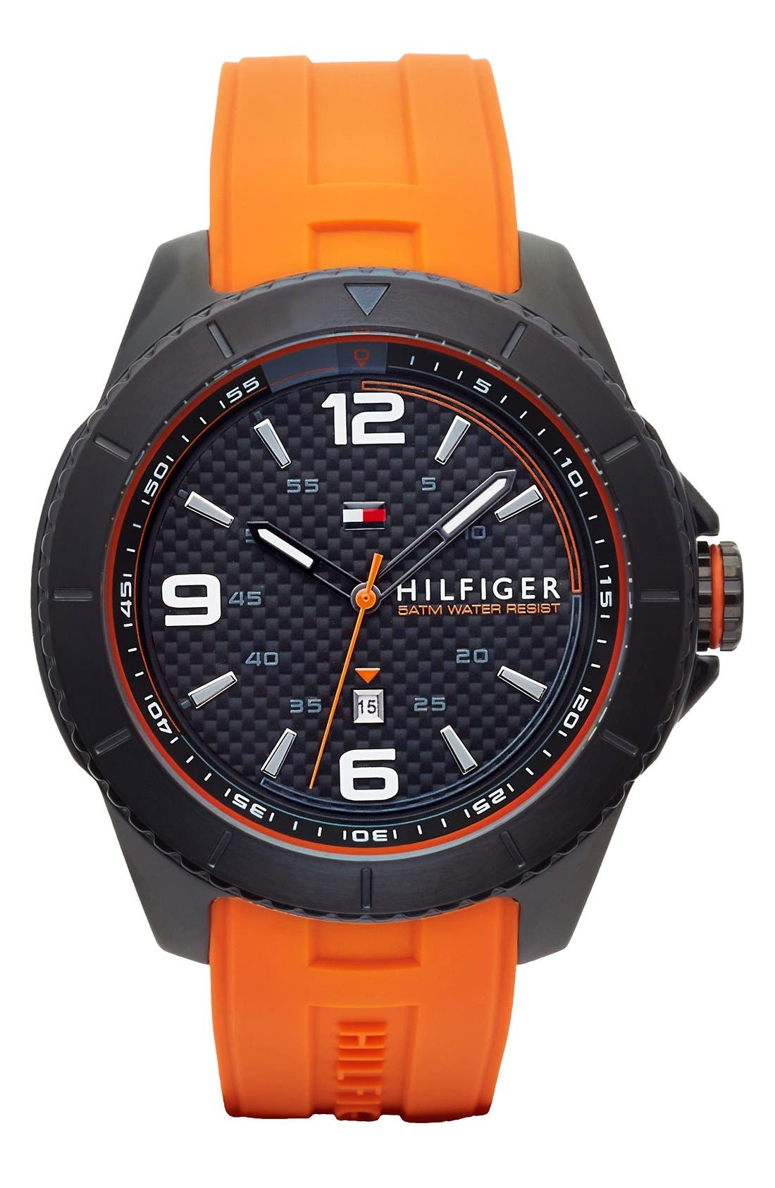 Alternate Image 1 Selected - Tommy Hilfiger Carbon Fiber Dial Silicone Strap Watch, 48mm