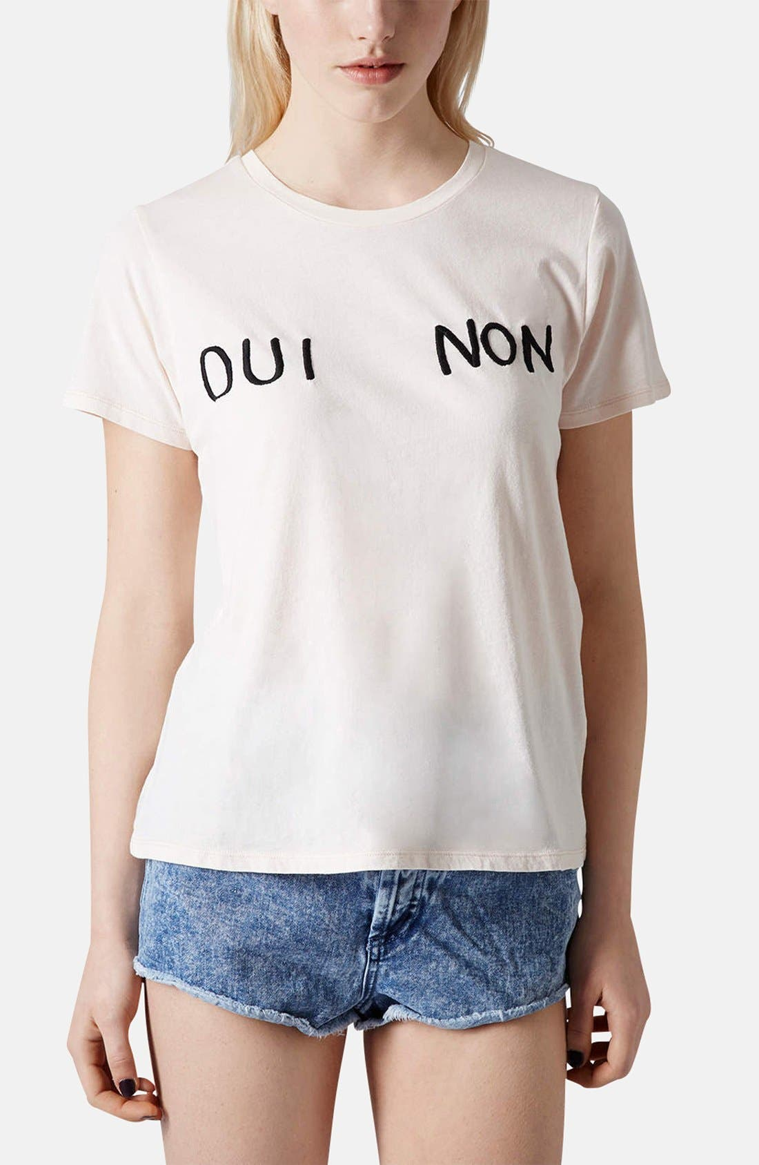 Main Image - Topshop 'Oui Non' Embroidered Cotton Tee