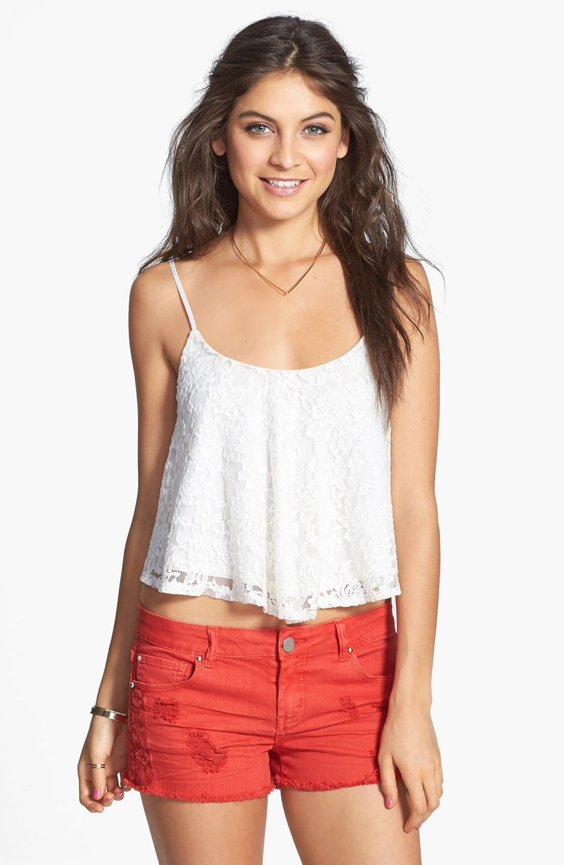 Alternate Image 1 Selected - Socialite Floral Lace Camisole (Juniors)