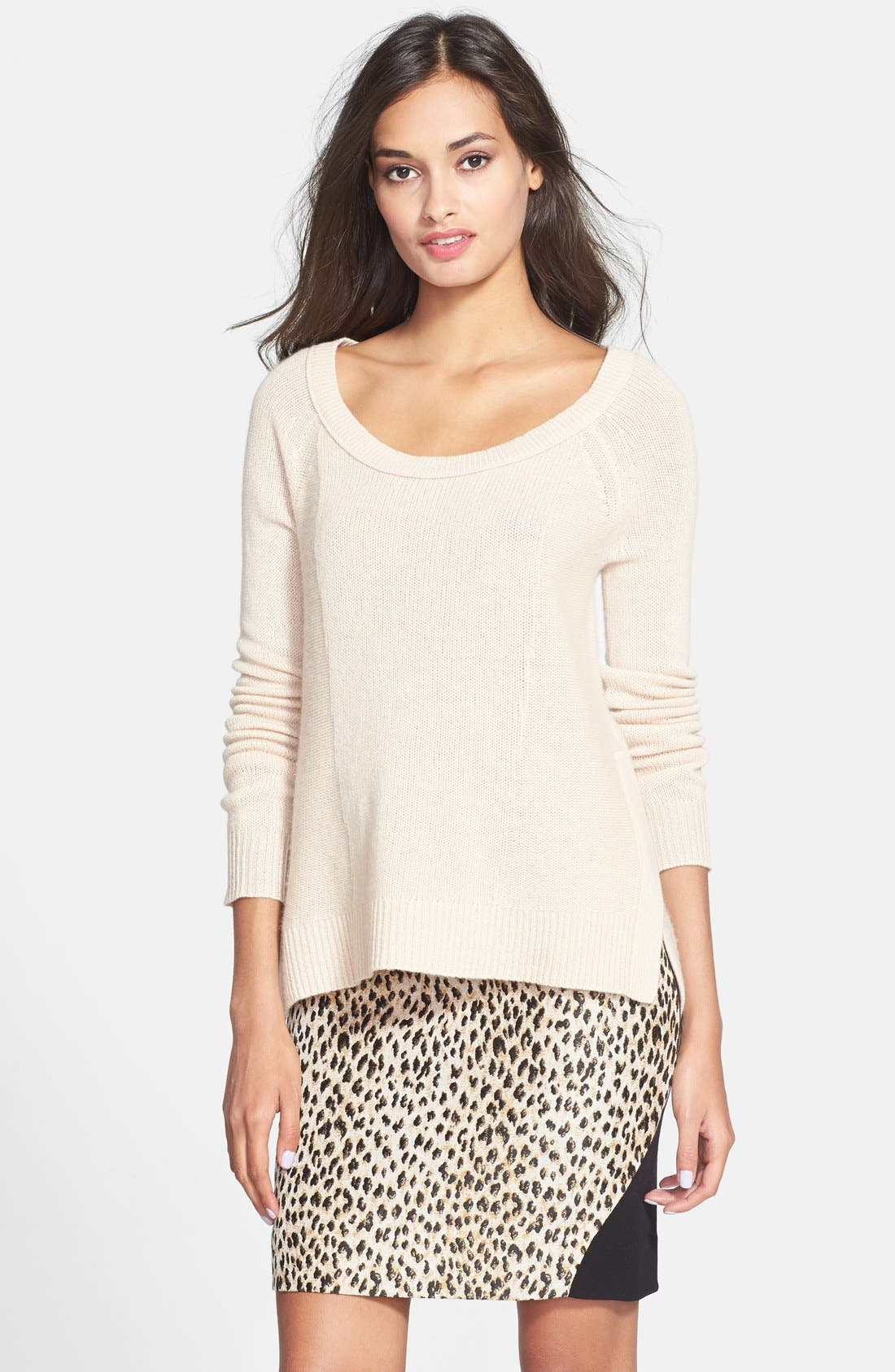 Main Image - Diane von Furstenberg 'Ivory' High/Low Cashmere Sweater