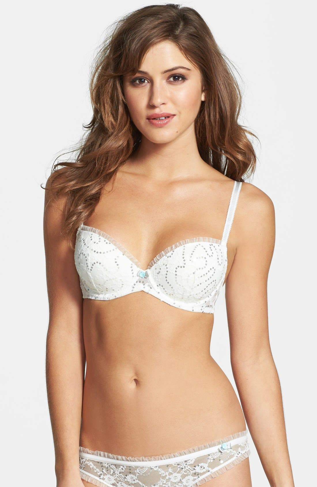 Alternate Image 1 Selected - Betsey Johnson Sequin Ruffle Lace Balconette Bra