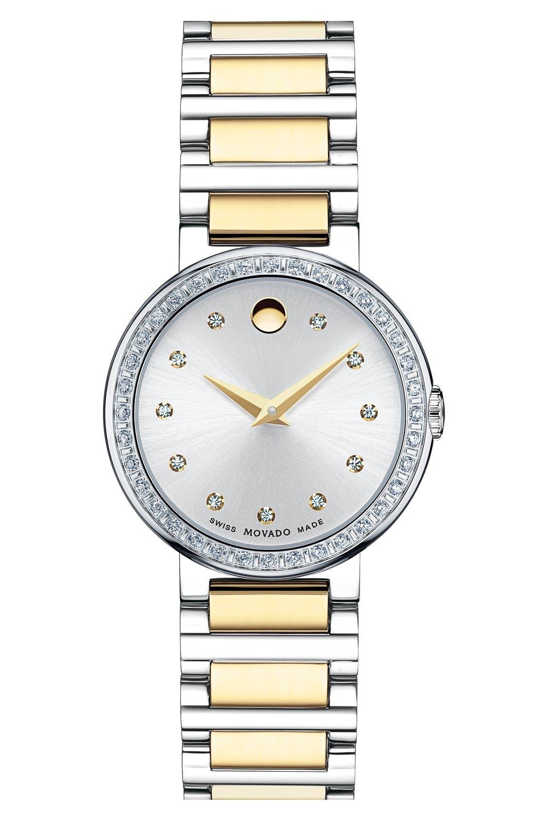 Main Image - Movado 'Concerto' Diamond Bezel Bracelet Watch, 27mm