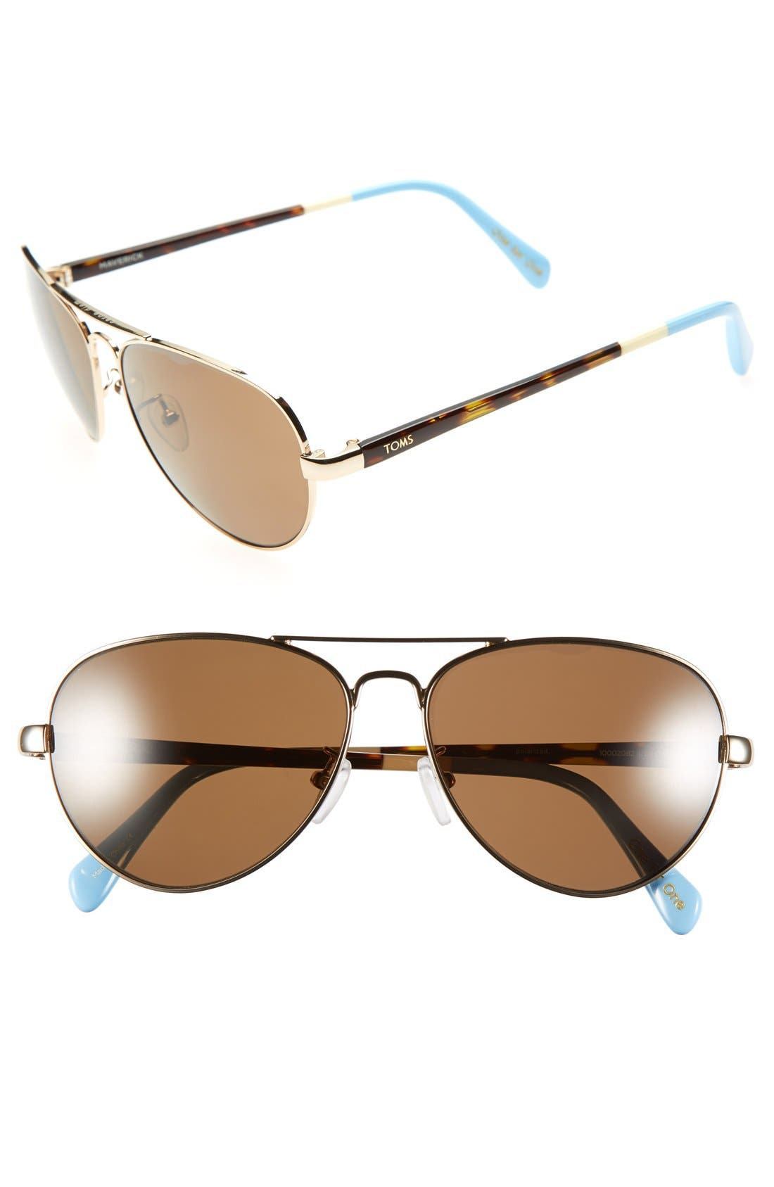 Main Image - TOMS 'Maverick' 59mm Polarized Aviator Sunglasses