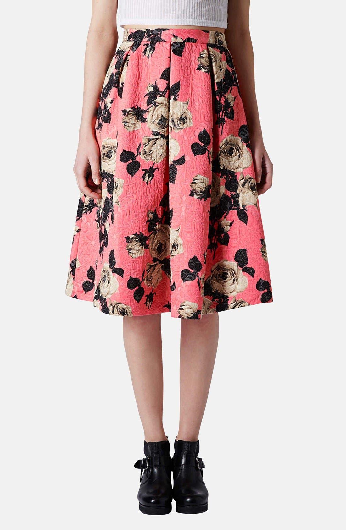 Main Image - Topshop Textured Rose Print Midi Skirt