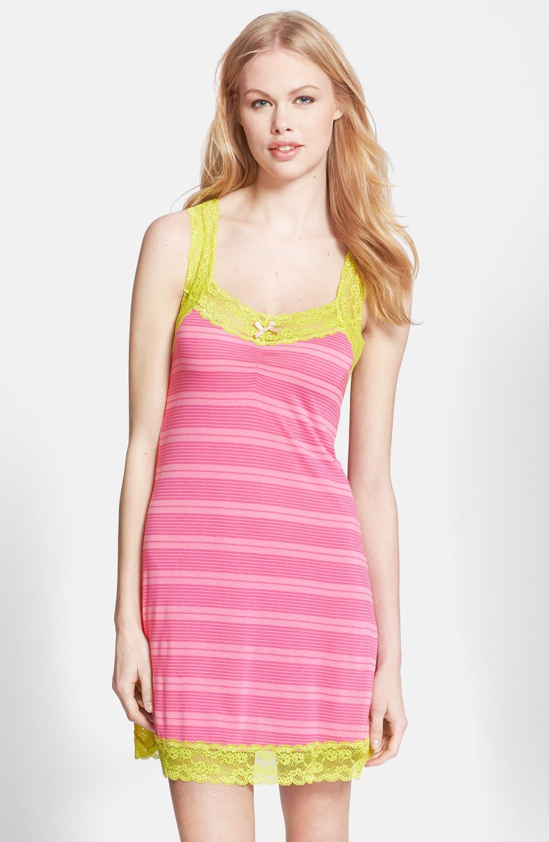 Alternate Image 1 Selected - Honeydew Intimates 'Ahna Shadow' Lace Detail Stripe Chemise