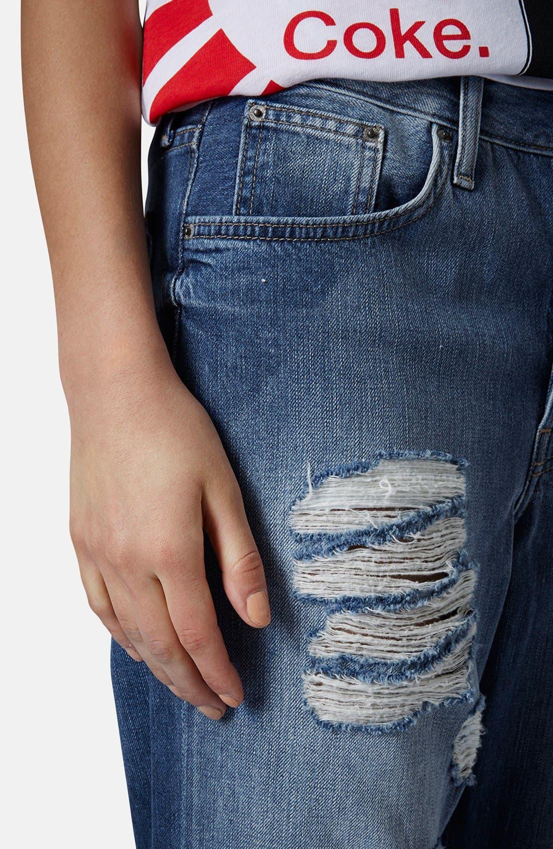 Alternate Image 4  - Topshop Moto 'Hayden' Destroyed Boyfriend Jeans (Mid Denim)