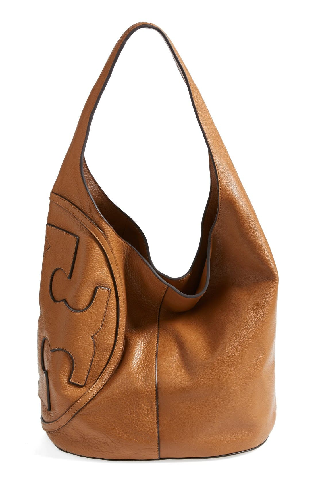 Alternate Image 1 Selected - Tory Burch 'All T' Logo Leather Hobo
