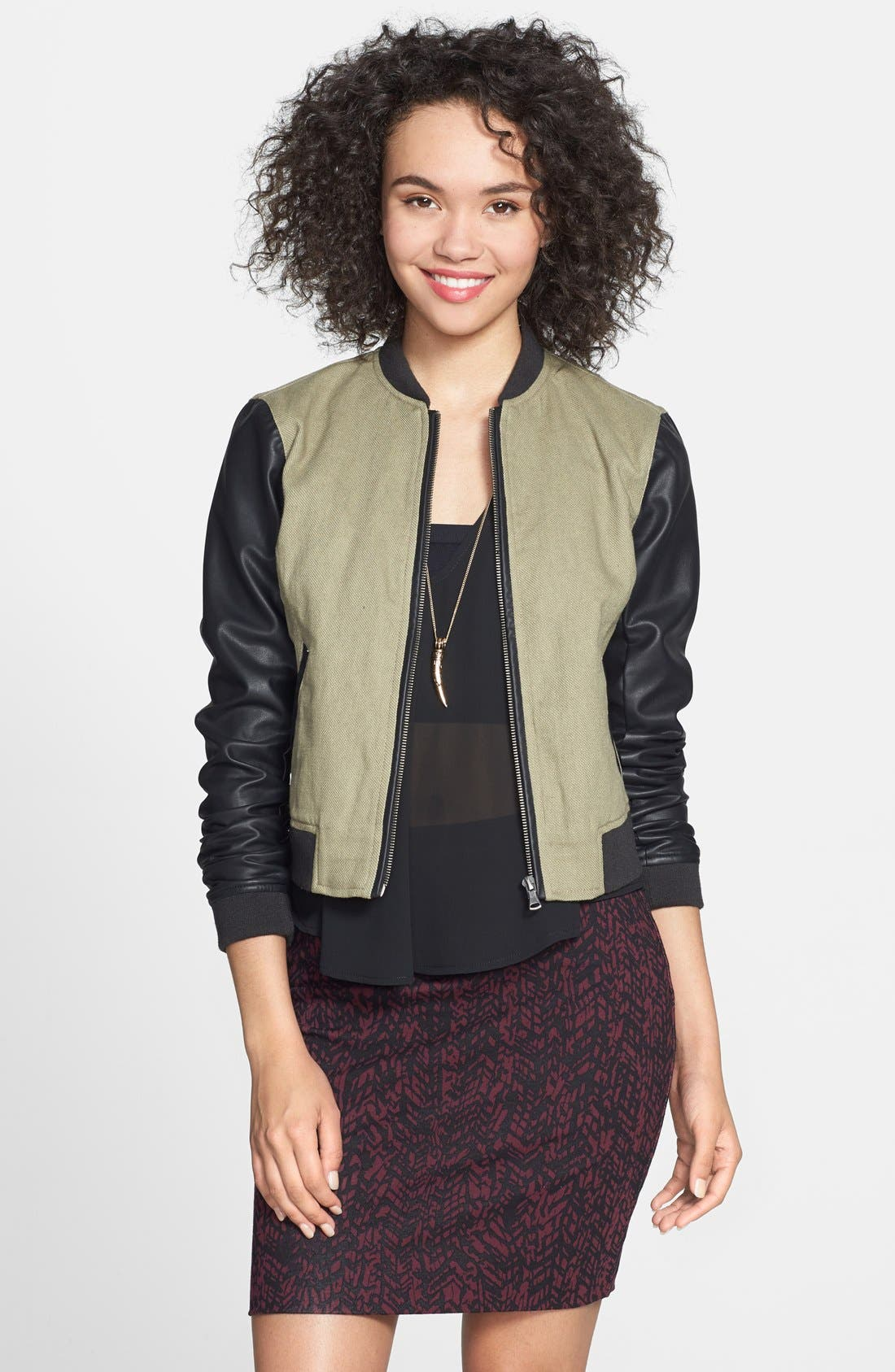 Alternate Image 1 Selected - Collection B Faux Leather Sleeve Bomber Jacket (Juniors)