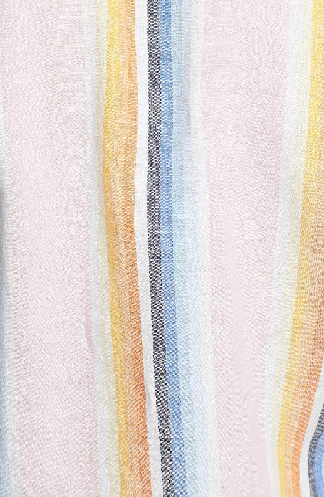 Alternate Image 3  - Façonnable 'Azur' Club Fit Stripe Linen Sport Shirt