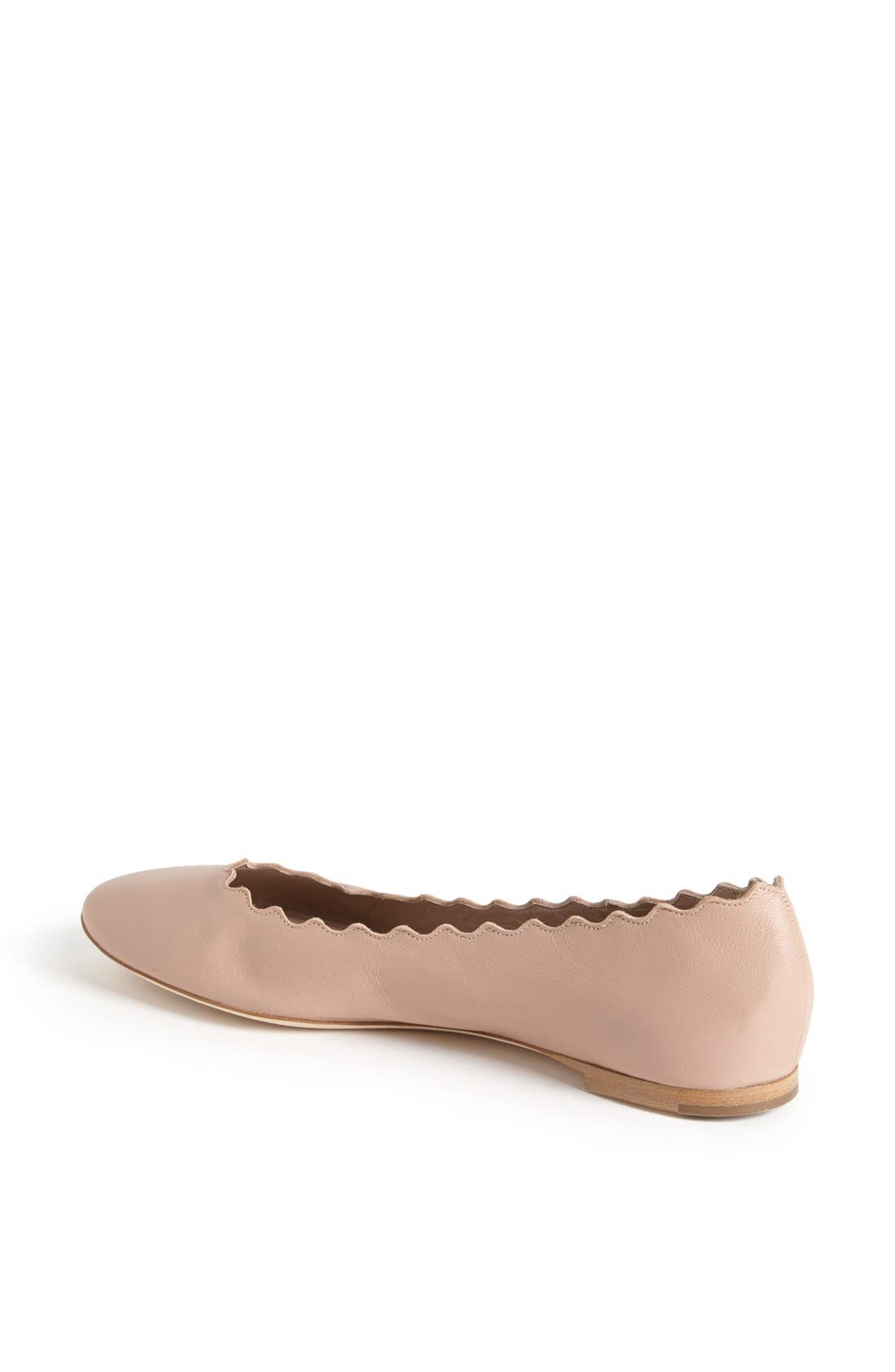 'Lauren' Scalloped Ballet Flat,                             Alternate thumbnail 2, color,                             Taupe