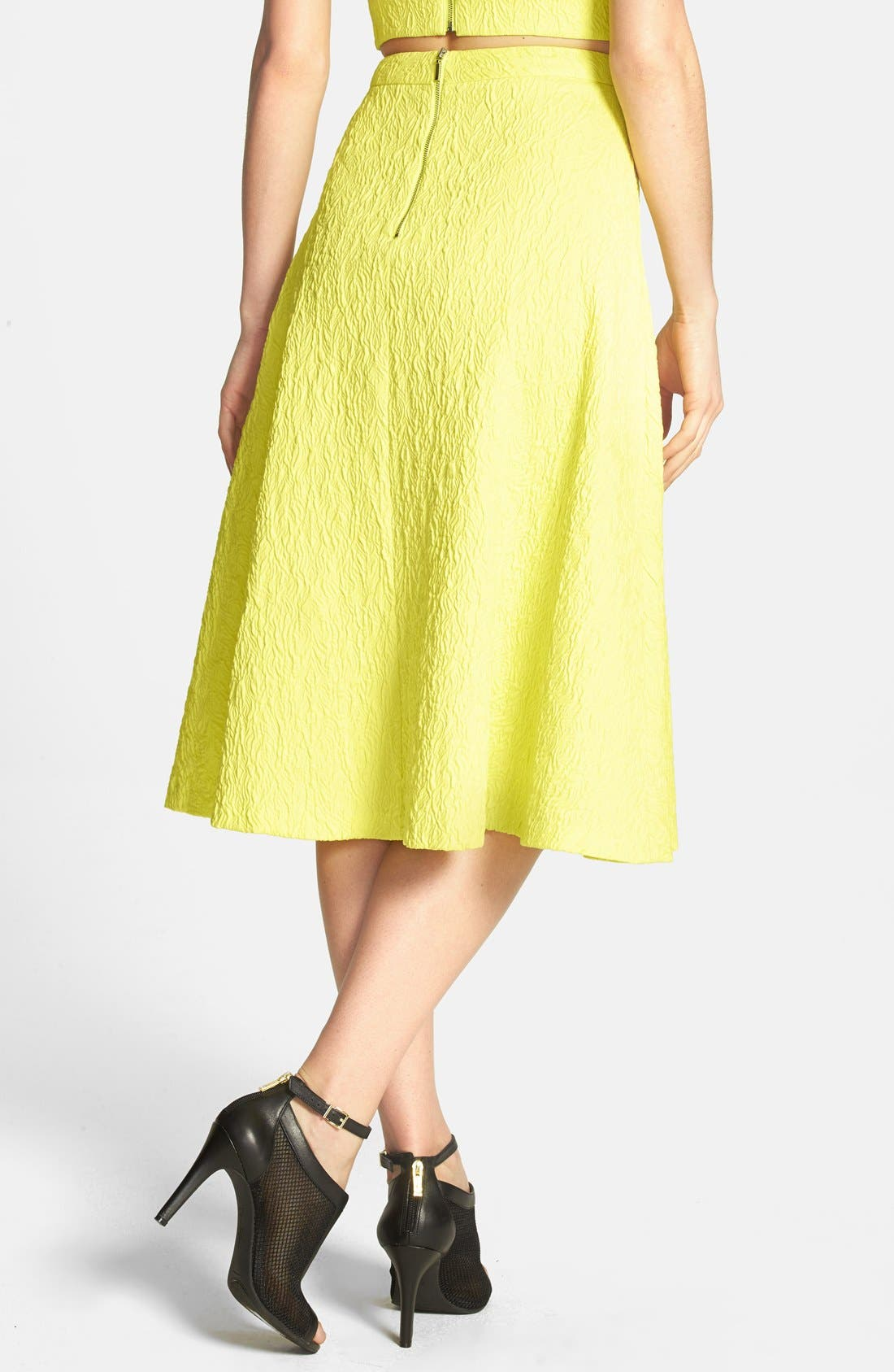 JOA Textured A-Line Midi Skirt,                             Alternate thumbnail 2, color,                             Lemon