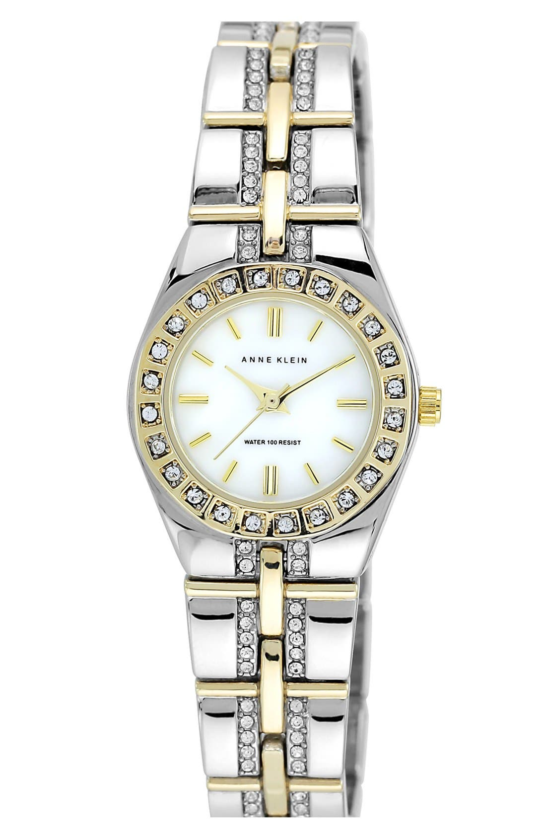 Alternate Image 1 Selected - Anne Klein Crystal Bezel Bracelet Watch