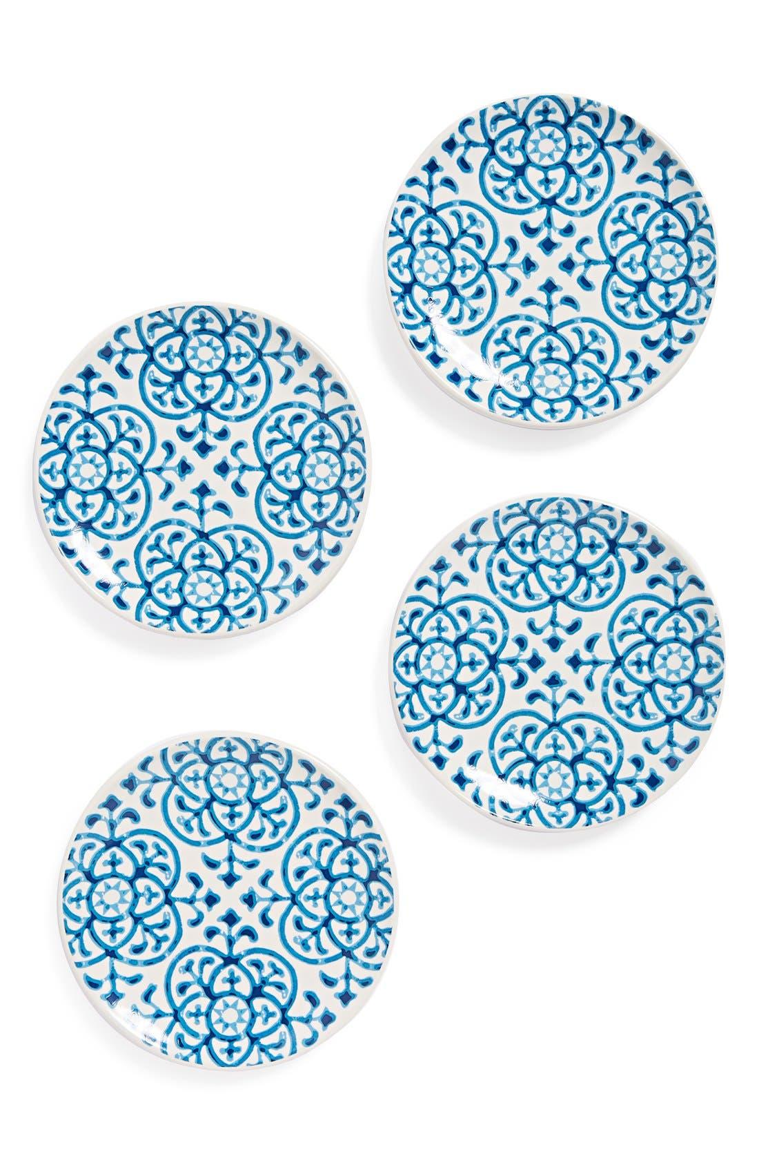 Alternate Image 1 Selected - Signature Housewares Indigo Tile Plates (Set of 4)