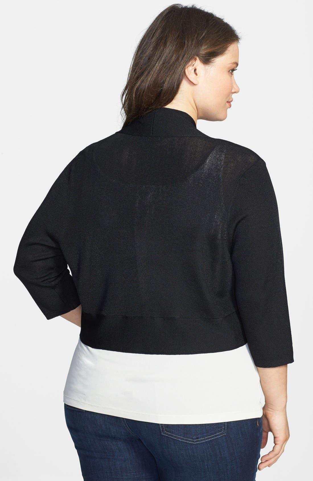 Alternate Image 2  - Eileen Fisher Three Quarter Sleeve Shrug (Plus Size)