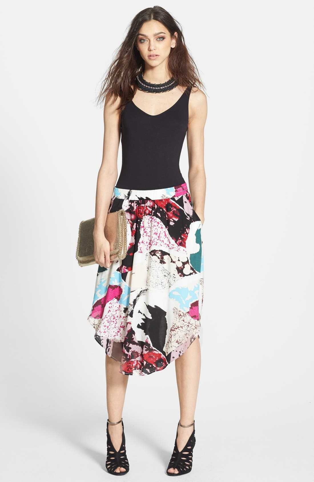 Alternate Image 4  - Tildon 'Shirttail' Floral Print Skirt