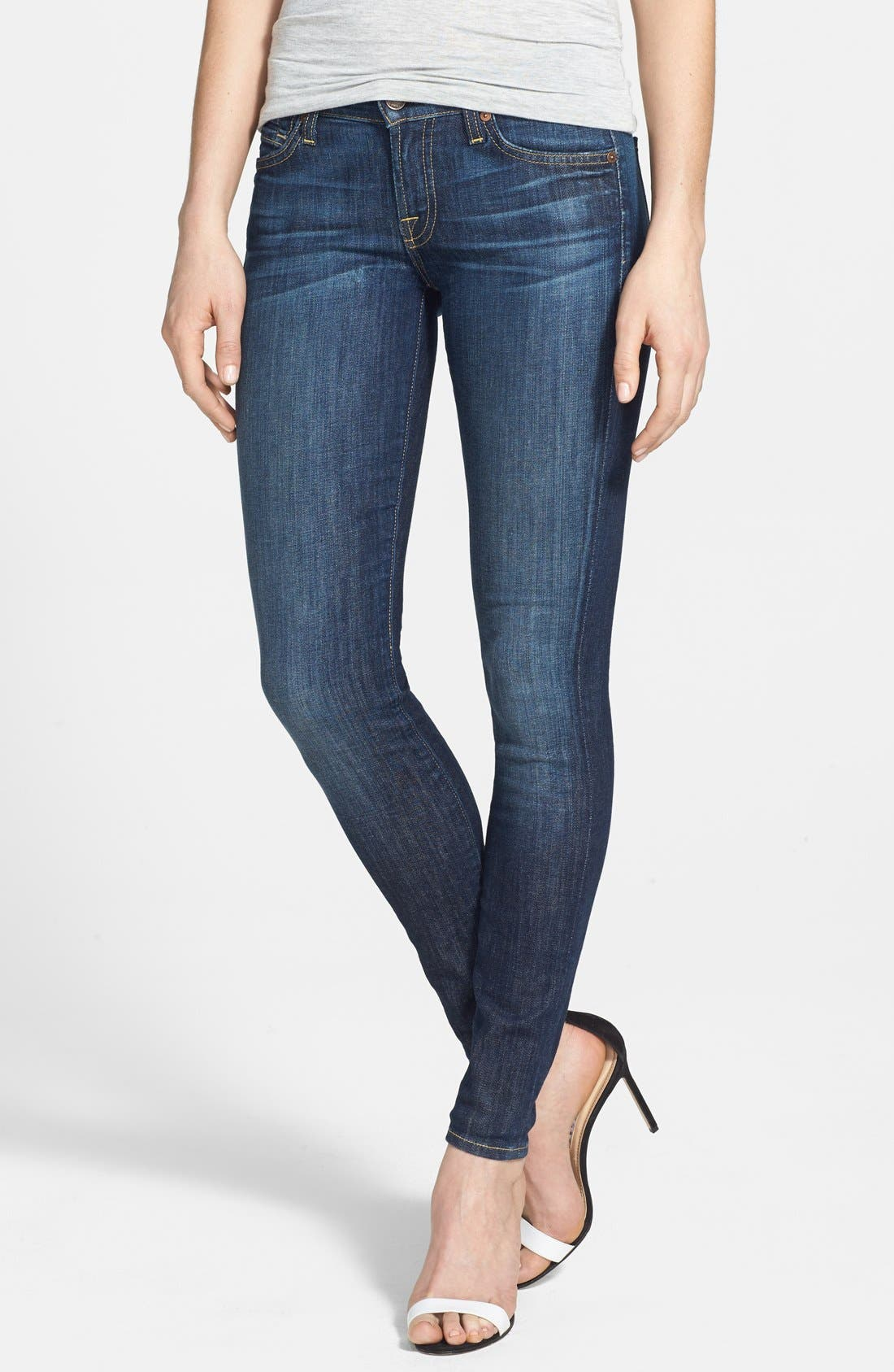 Main Image - 7 For All Mankind® 'The Skinny' Mid Rise Skinny Jeans (Nouveau New York Dark)
