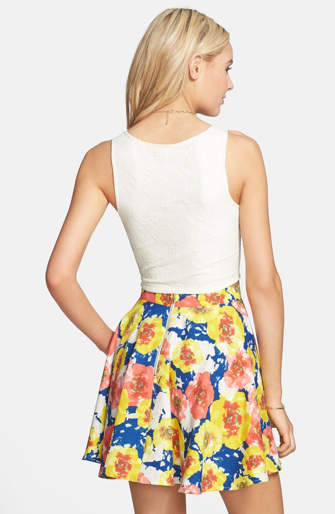 Alternate Image 2  - Everly Floral Print Skater Skirt (Juniors)