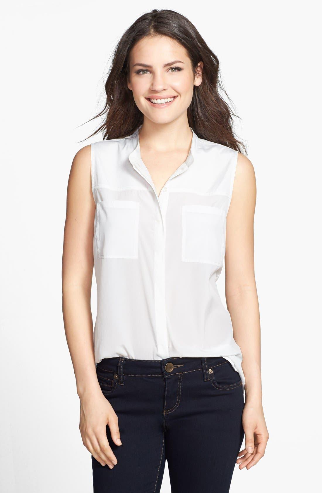 Alternate Image 1 Selected - Halogen® Banded Collar Sleeveless Blouse (Regular & Petite)