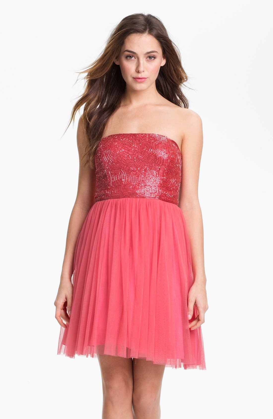 Main Image - Aidan Mattox Embellished Bodice Mesh Dress (Online Only)