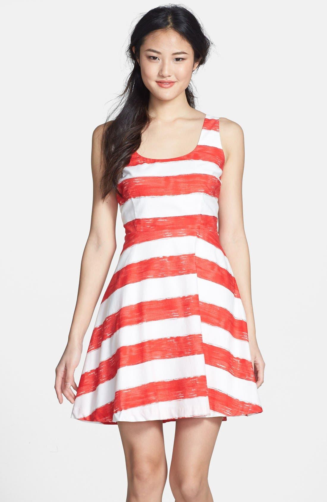 Alternate Image 1 Selected - BB Dakota Stripe Cotton Fit & Flare Dress
