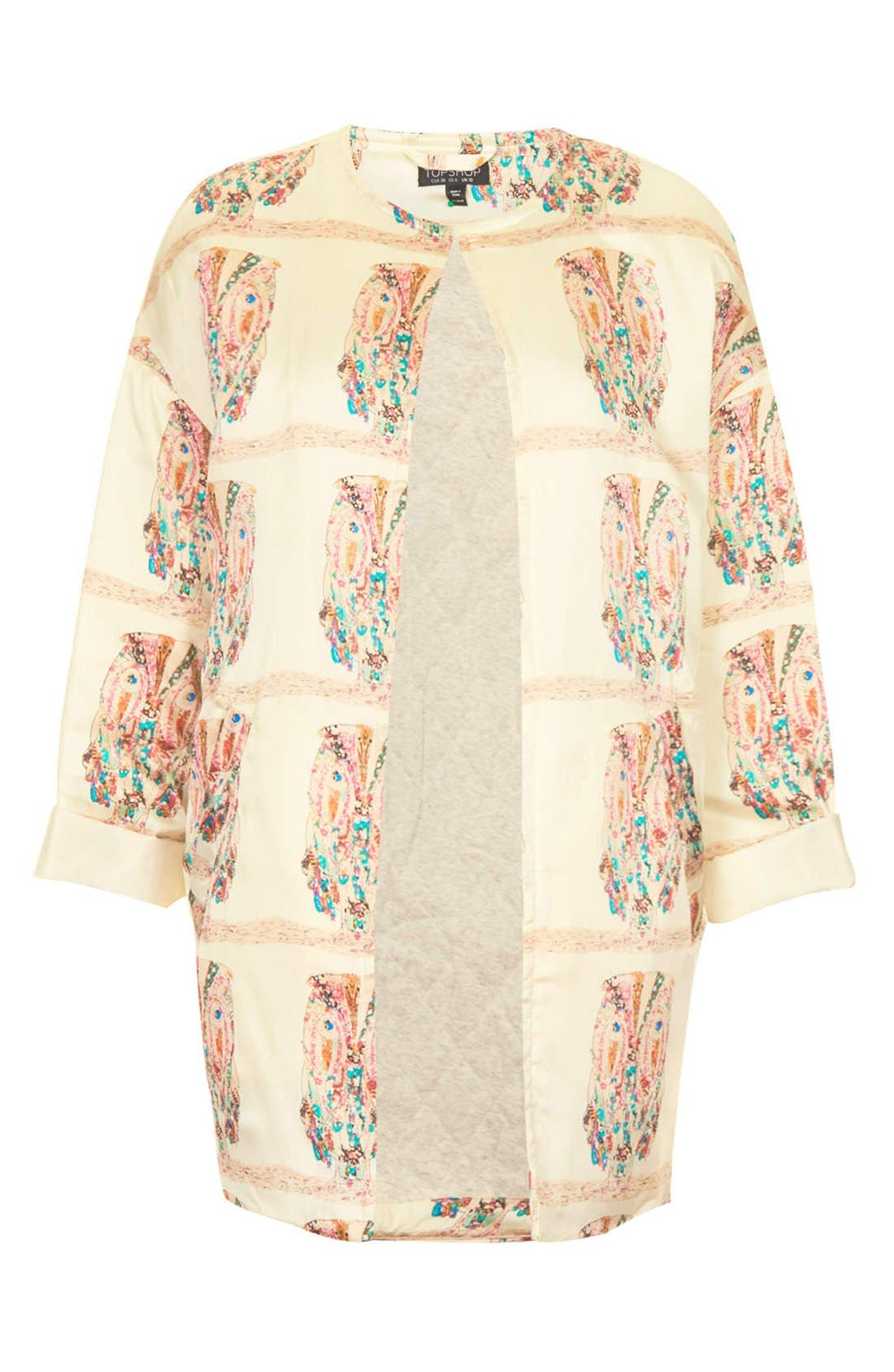 Alternate Image 3  - Topshop Owl Pattern Satin Jacket