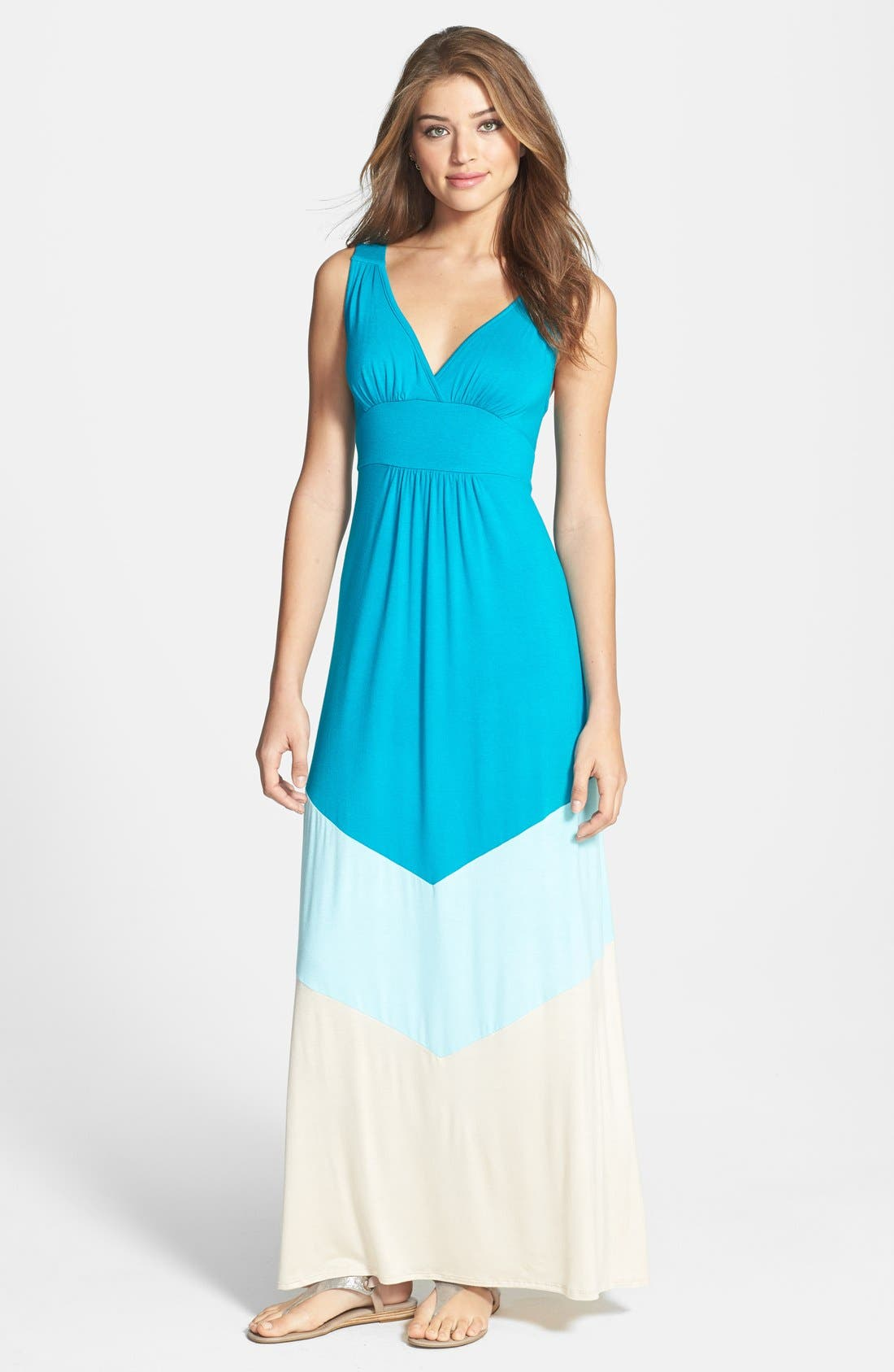Main Image - Loveappella Colorblock V-Neck Maxi Dress