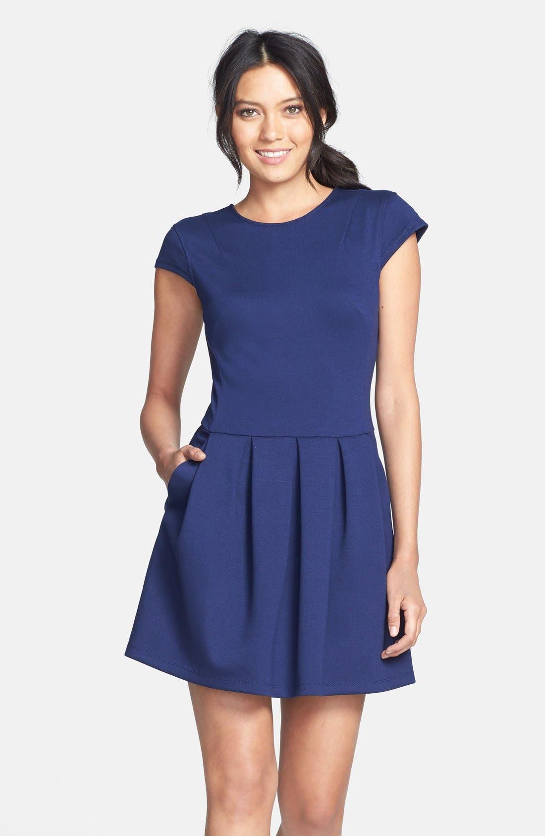 Alternate Image 1 Selected - Black Swan Cap Sleeve Ponte Knit Fit & Flare Dress