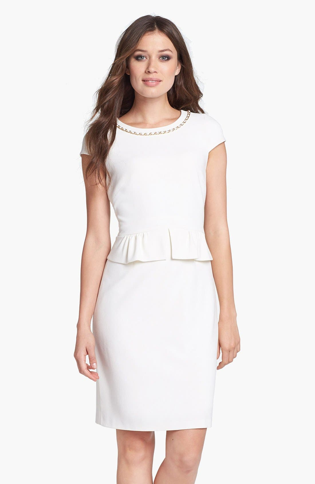 Alternate Image 1 Selected - Tahari Chain Detail Stretch Crepe Peplum Sheath Dress