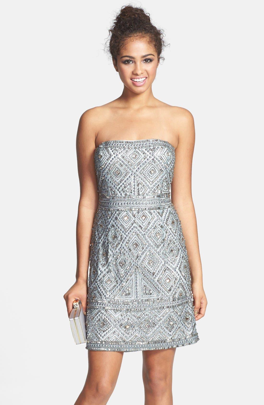 Beaded Mesh Dress,                         Main,                         color, Slate