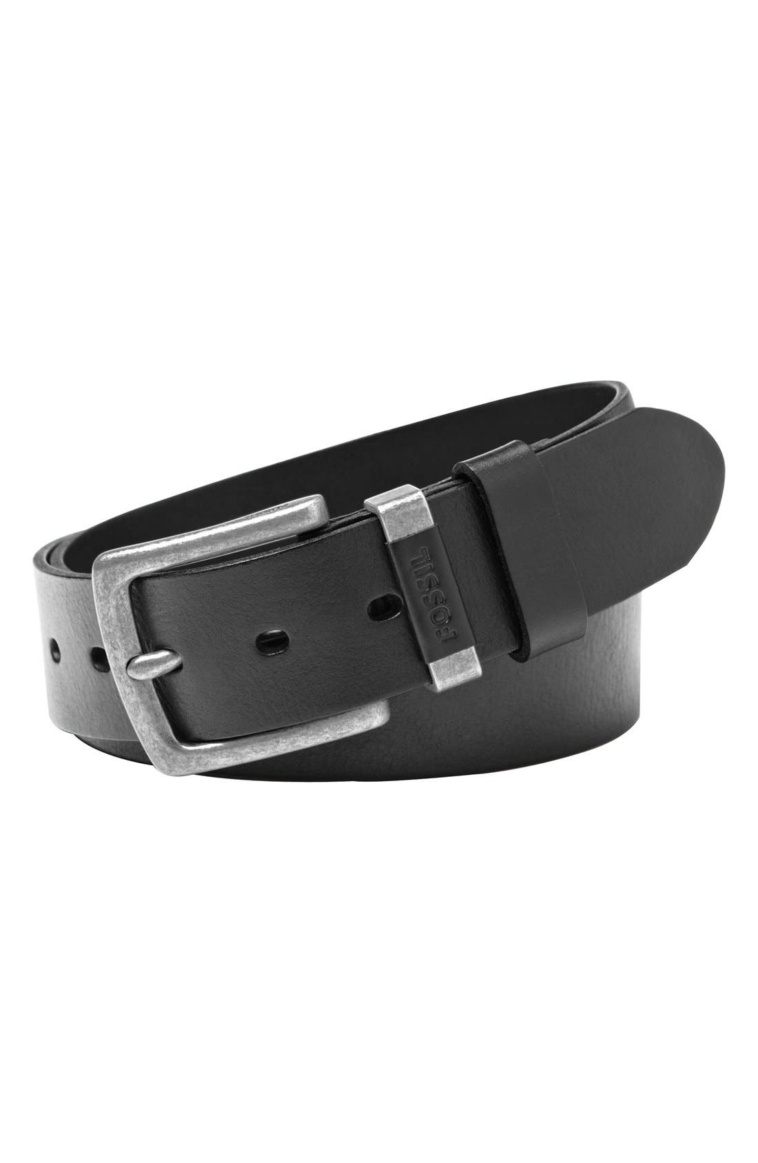 'Jay' Leather Belt,                             Main thumbnail 1, color,                             Black