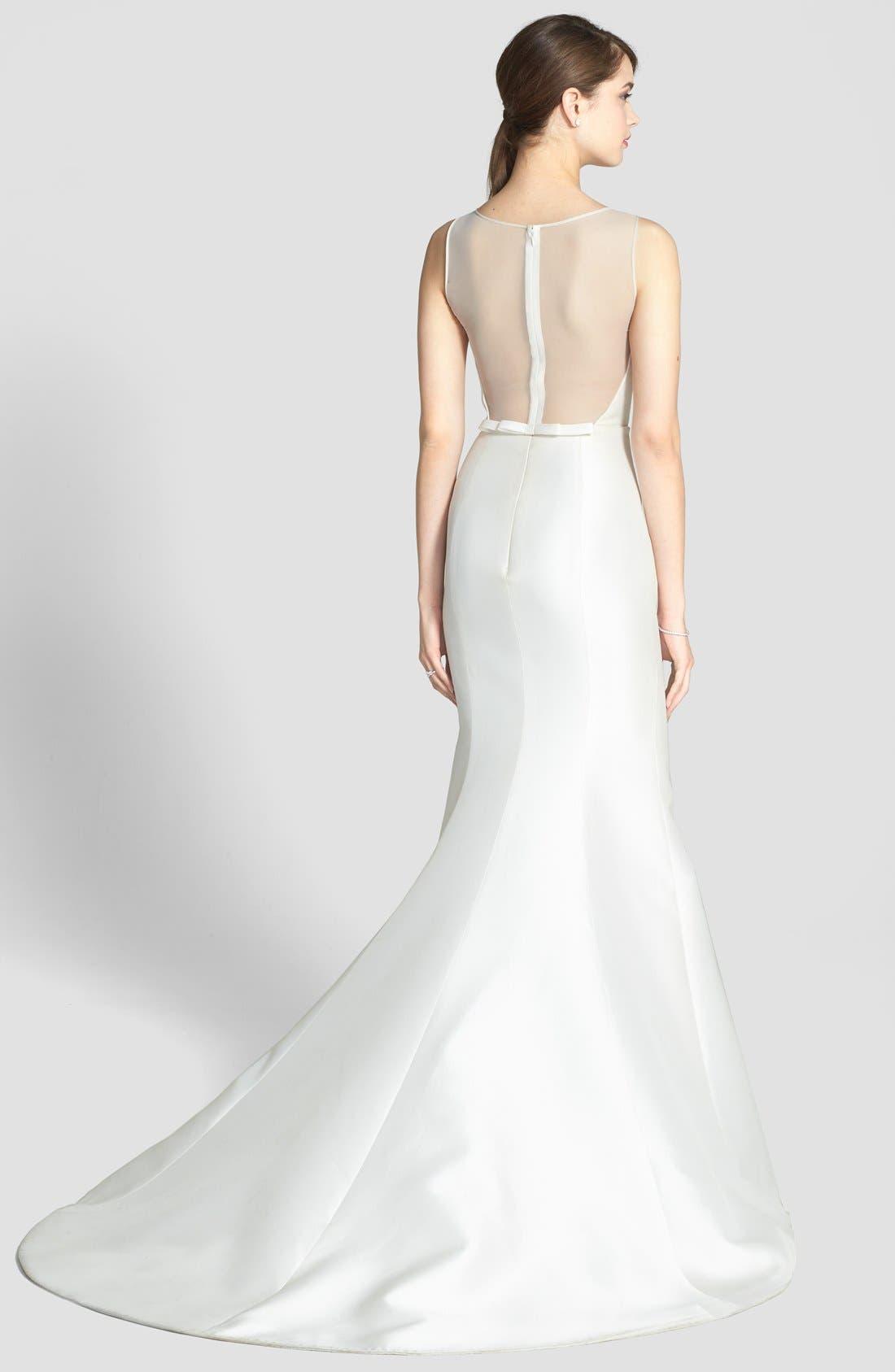 Alternate Image 2  - Amsale Preston Silk Magnolia Sheath Wedding Dress