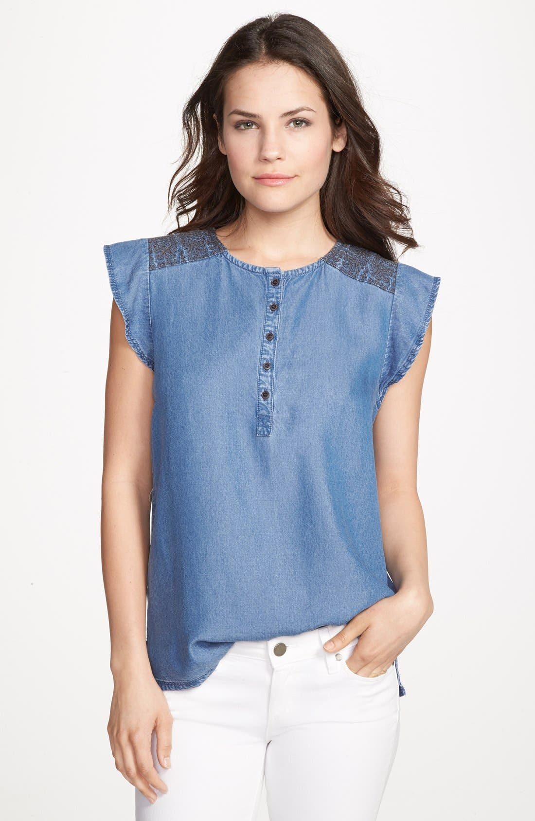 Alternate Image 1 Selected - Hinge® Embroidered Denim Top