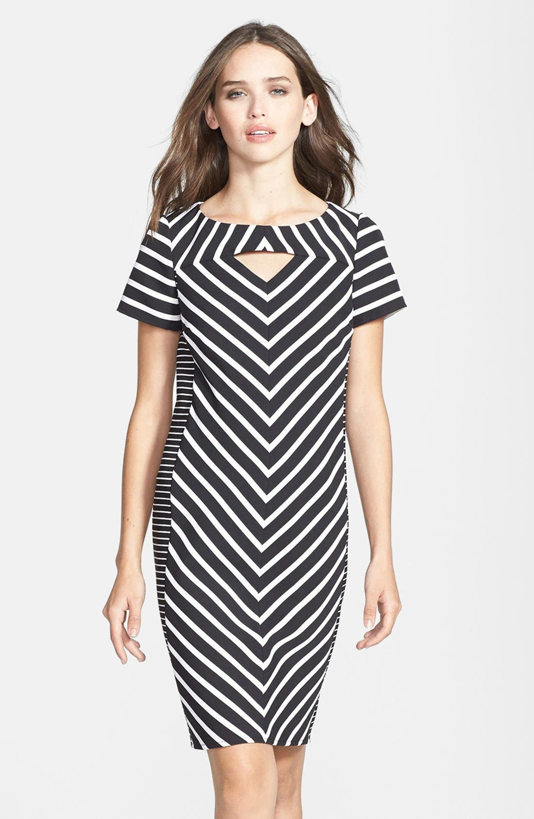 Alternate Image 1 Selected - Gabby Skye Belted Burnout Organza Fit & Flare Dress