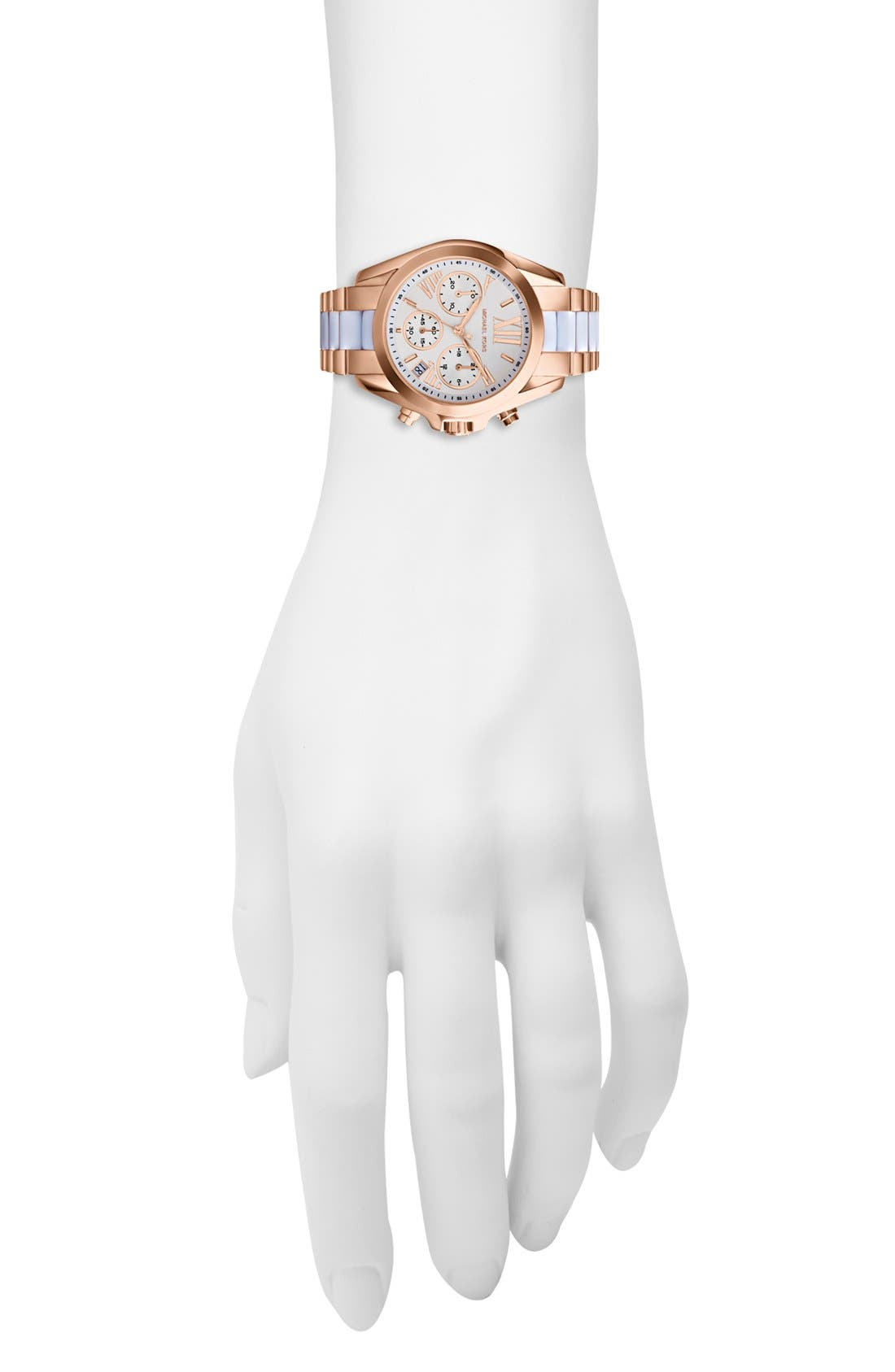 Alternate Image 4  - Michael Kors 'Bradshaw - Mini' Chronograph Resin Link Bracelet Watch, 36mm