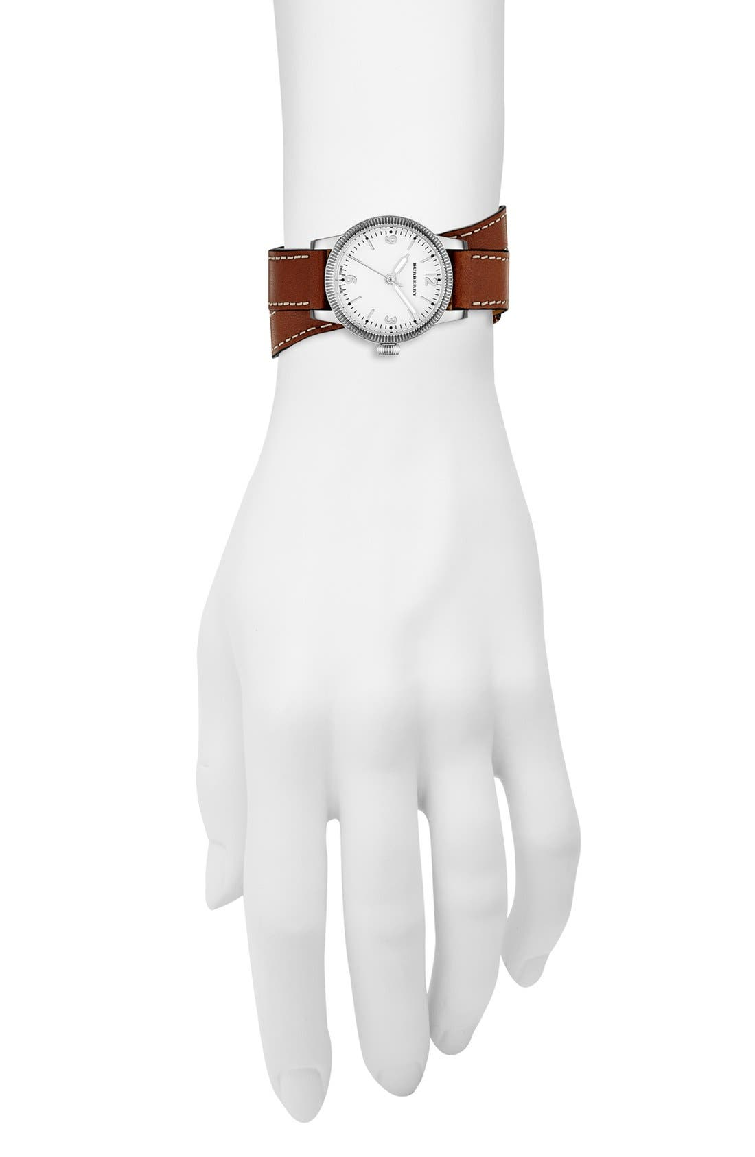 Alternate Image 4  - Burberry 'Utilitarian' Round Leather Wrap Watch, 30mm
