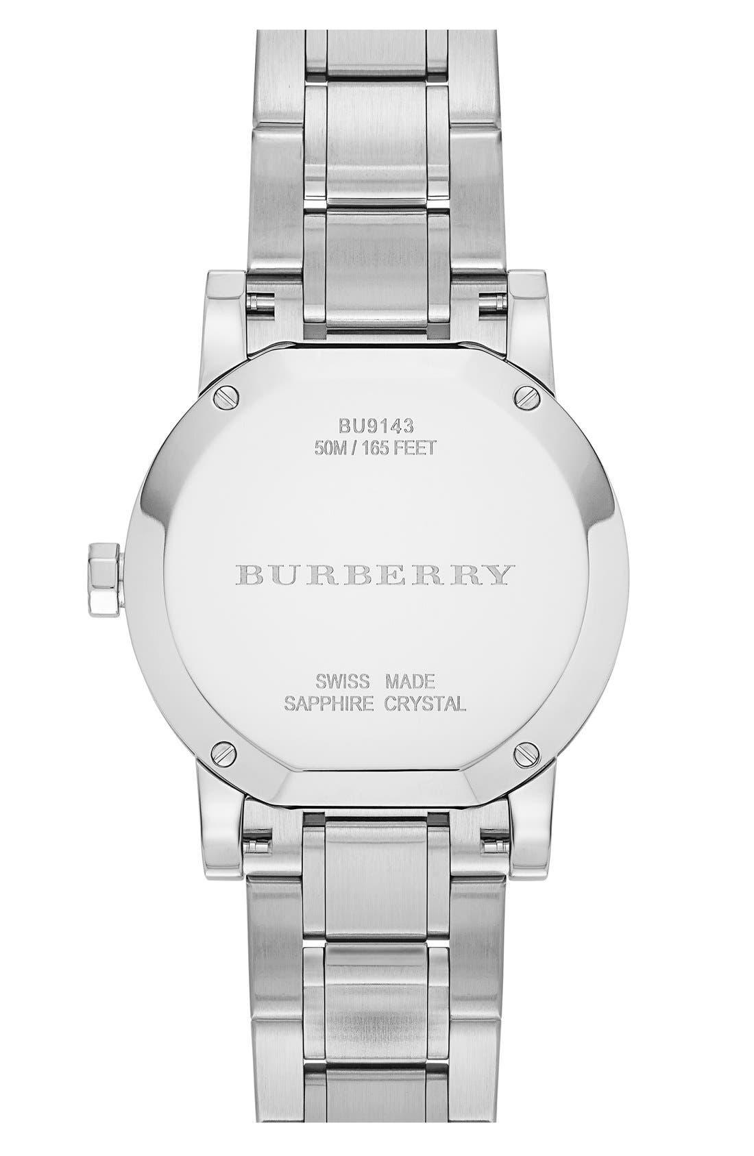 Alternate Image 3  - Burberry Check Stamped Bracelet Watch, 34mm