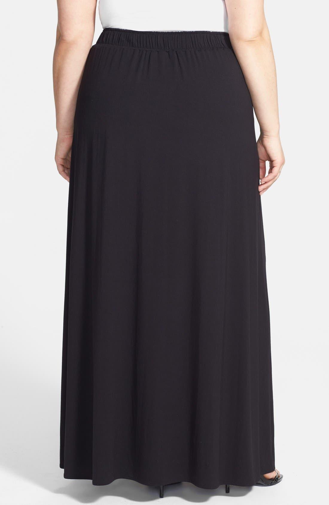 Alternate Image 2  - Sejour Stretch A-Line Maxi Skirt (Plus Size)