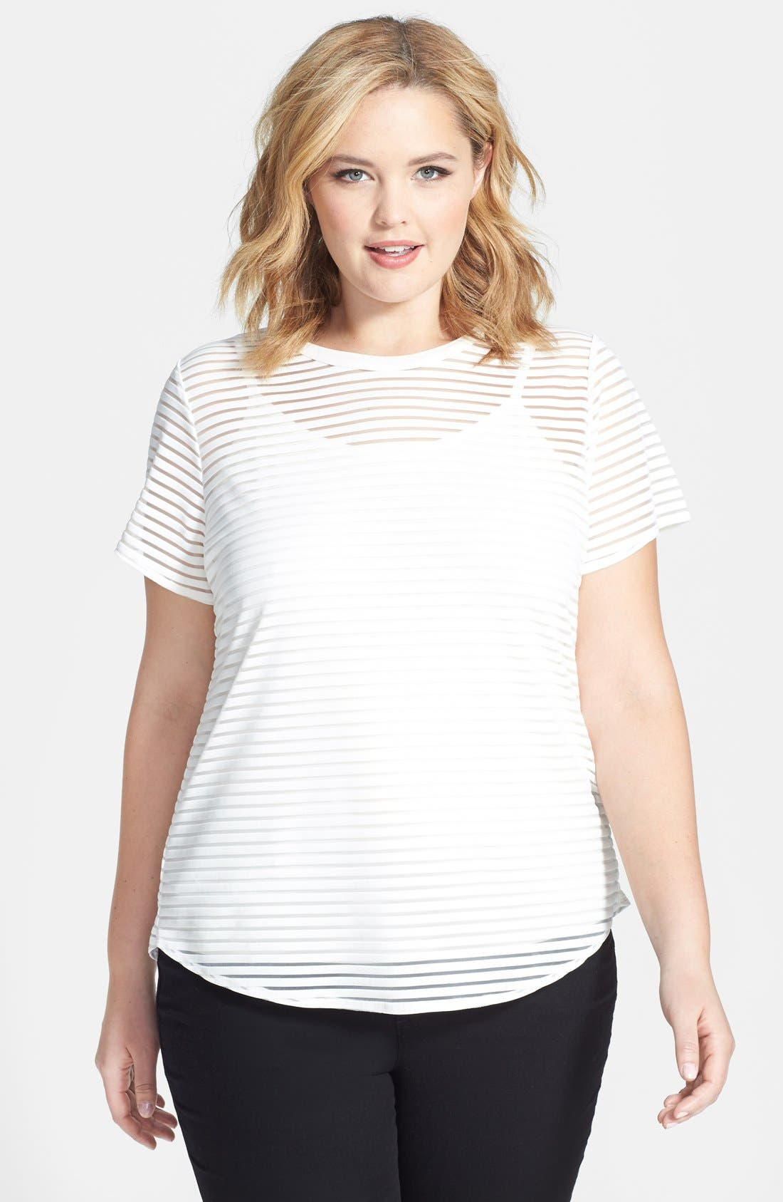 Alternate Image 1 Selected - Vince Camuto Sheer Stripe Tee & Camisole (Plus Size)