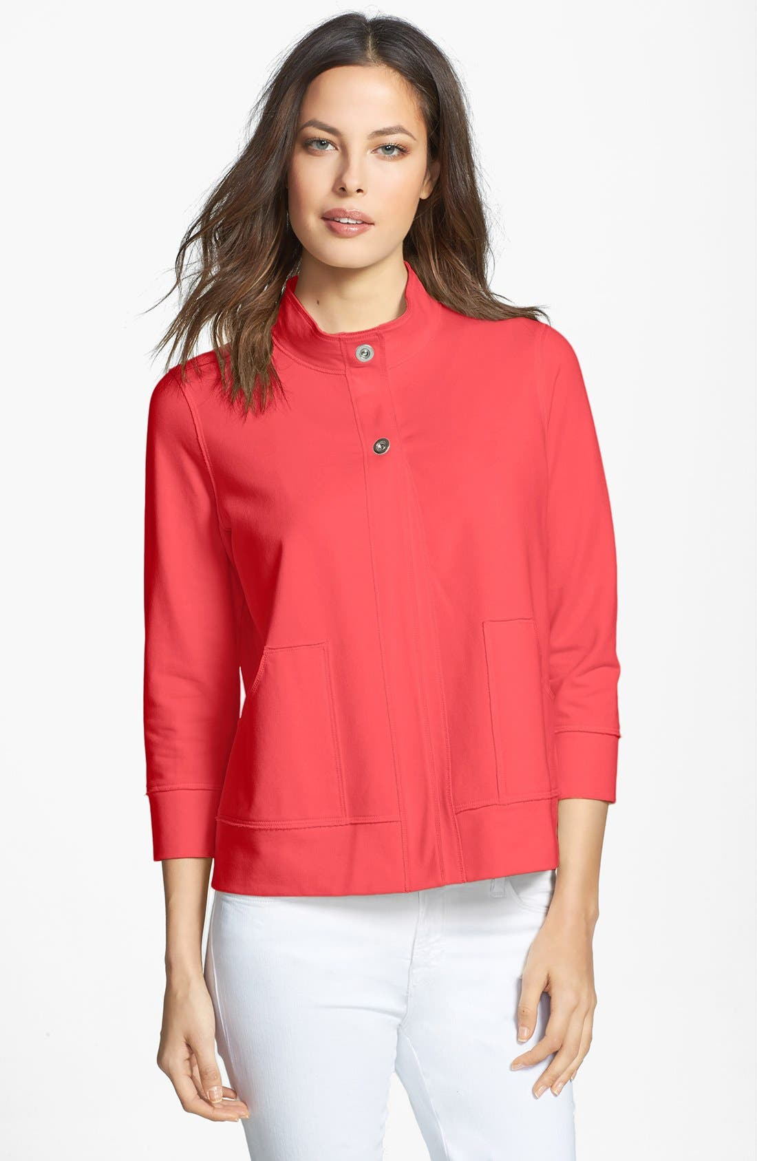 Main Image - Lafayette 148 New York Stand Collar Jersey Jacket
