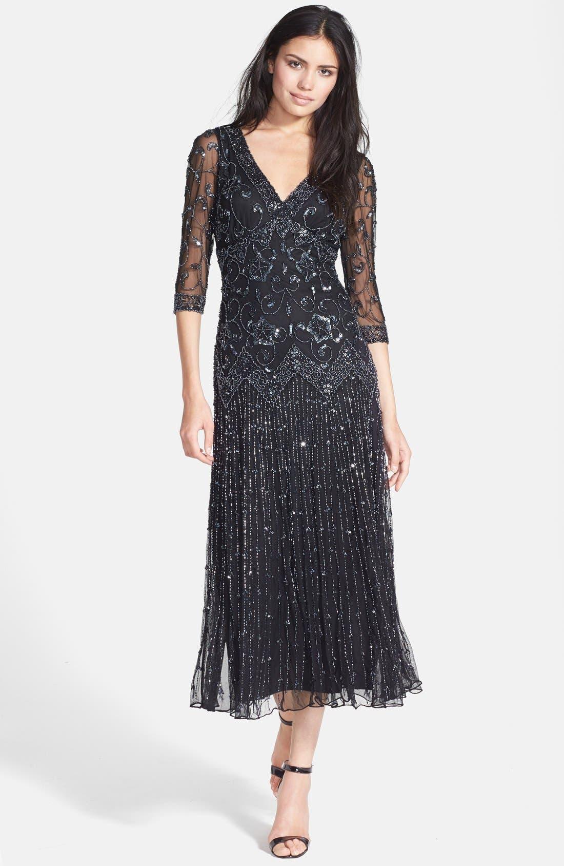 Main Image - Pisarro Nights Beaded Mesh Dress (Regular & Petite)