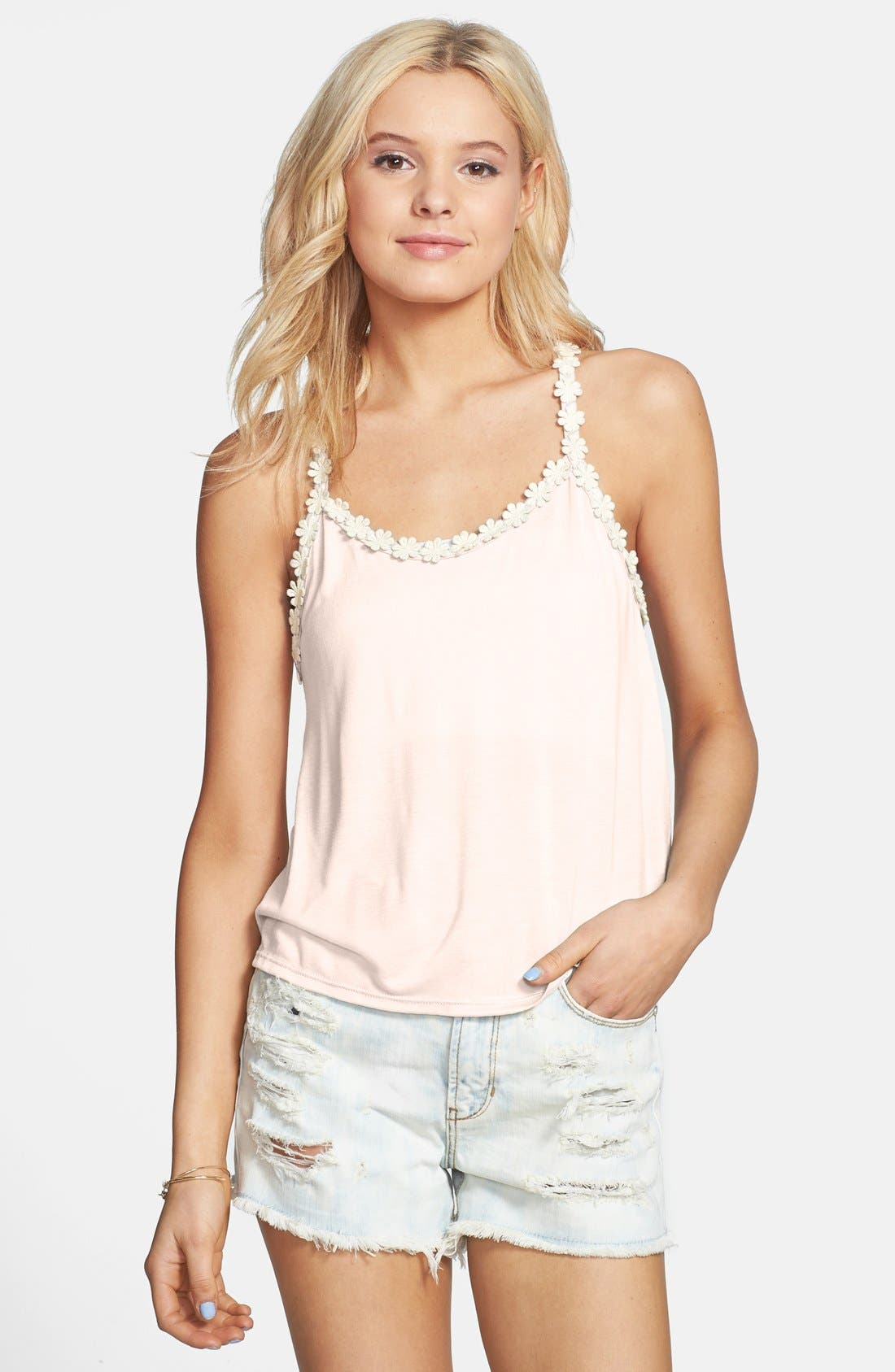 Alternate Image 1 Selected - Elodie Daisy Trim Racerback Tank (Juniors)