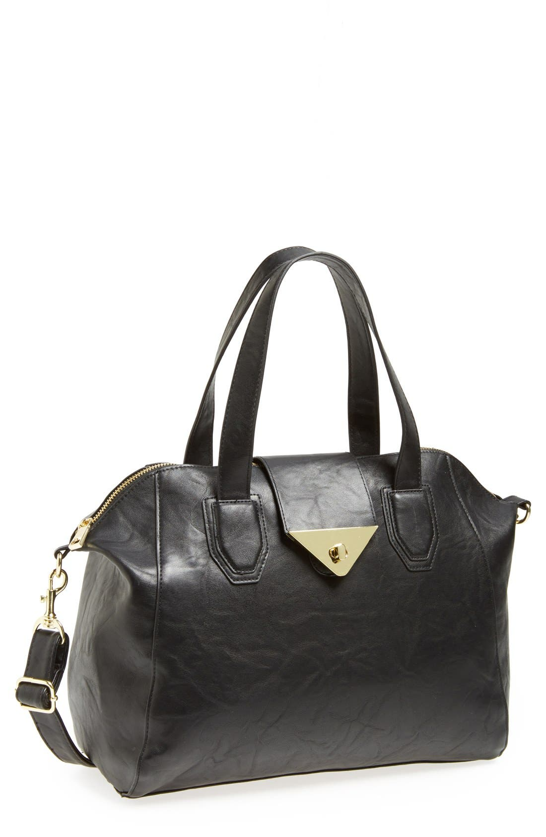 Alternate Image 1 Selected - Lulu Faux Leather Satchel (Juniors)