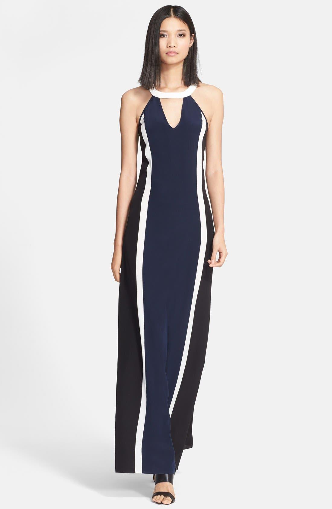 Main Image - Jay Godfrey 'Simons' Paneled Silk Maxi Dress
