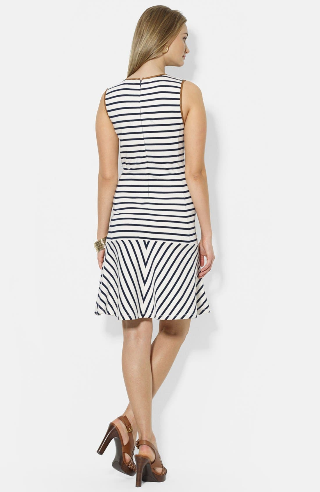 Alternate Image 2  - Lauren Ralph Lauren Faux Leather Trim Stripe Cotton Dress (Petite)