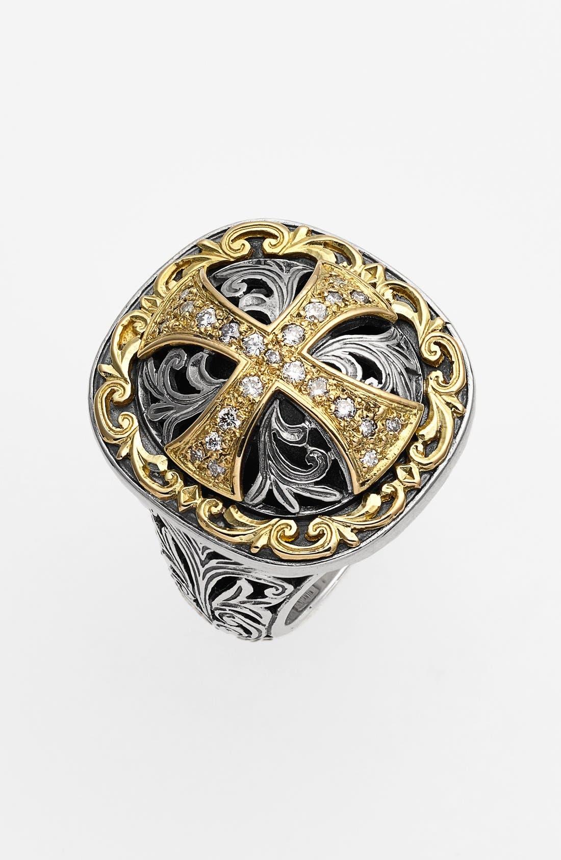 'Diamond Classics' Diamond Cross Two-Tone Ring,                             Main thumbnail 1, color,                             Silver/ Gold