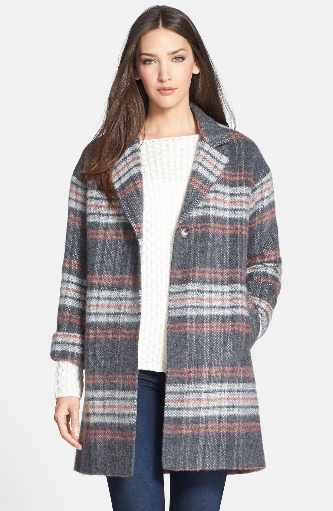 Plaid Coat,                             Main thumbnail 1, color,                             Pale Grey/ Pink